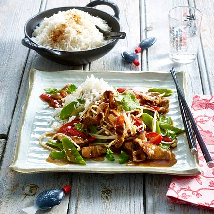 Schweinegeschnetzeltes mit Asia-Gemüse Rezept
