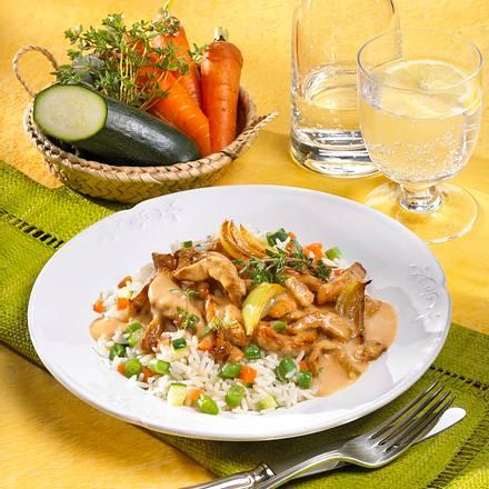 Schweinegeschnetzeltes mit Gemüsereis Rezept