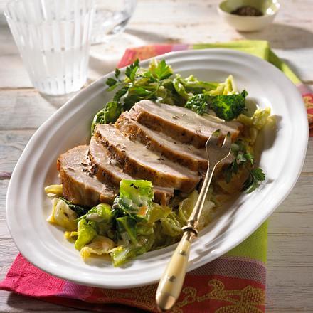 Schweinekotelett im Bratschlauch auf Kümmel-Wirsing-Gemüse Rezept