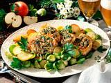 Schweinekotelett mit Pfeffer-Zwiebelkruste und Rosenkohl Rezept