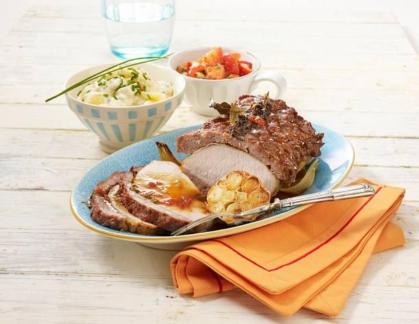 Schweinekotelett-Spießbraten mit Metthaube Rezept