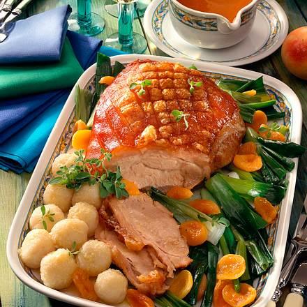 Schweinekrustenbraten mit buntem Gemüse Rezept