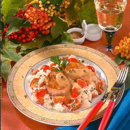 Schweinemedaillons in Pfeffersoße mit Tomatenrisotto Rezept