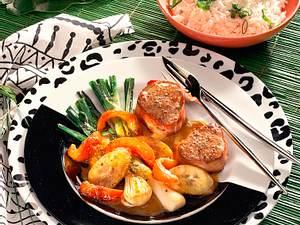 Schweinemedaillons mit gebratenen Gemüse-Curry Rezept