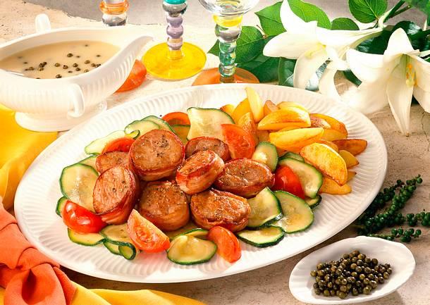 Schweinemedaillons mit Speck umwickelt Rezept