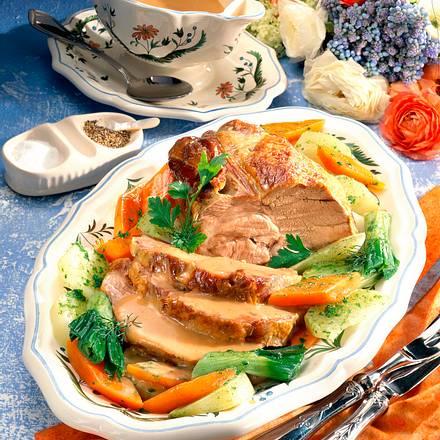 Schweinenacken-Braten mit Frühlingsgemüse Rezept