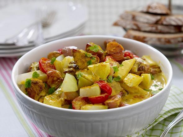 Schweineragout mit Kohlrabi in Currysoße Rezept