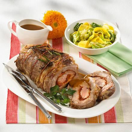 Schweinerollbraten gefüllt mit rotem Pesto Rezept