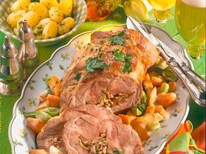 Schweinerollbraten mit Frühlingsgemüse Rezept