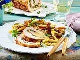 Schweinerollbraten mit mediterranem Nudelsalat Rezept