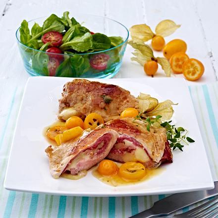 Schweineschnitzel a la Cordon bleu mit Physalis-Kumquat-Soße Rezept