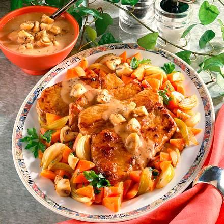 Schweineschnitzel mit Gemüse Rezept