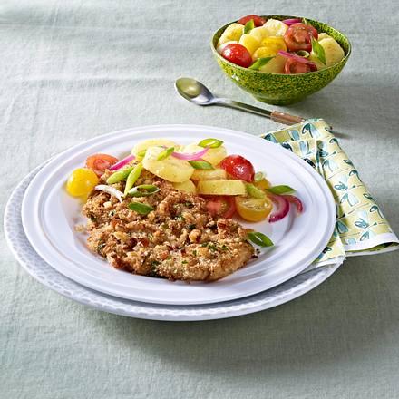 Schweineschnitzel mit warmem Kartoffelsalat Rezept