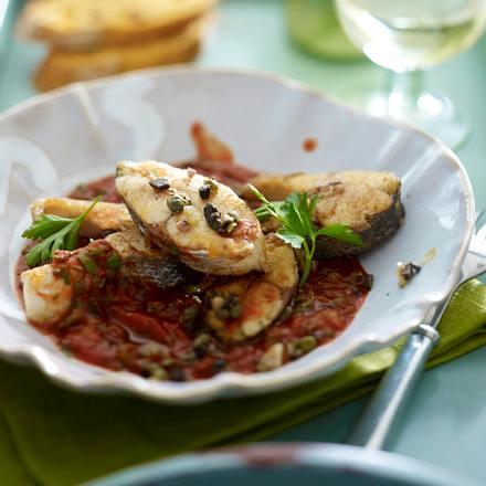 Seebarsch in Olivensoße Rezept