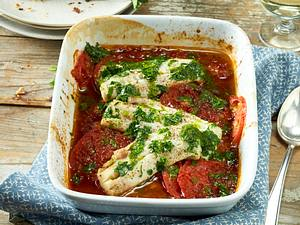 Seelachs auf Tomaten Rezept