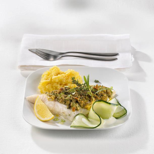 Seelachs Bordelaise mit Gurkensalat Rezept