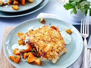 Seelachs mit Kartoffelkruste und Buttermöhren Rezept