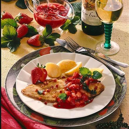 Seezunge mit Erdbeer-Pfeffer-Soße Rezept