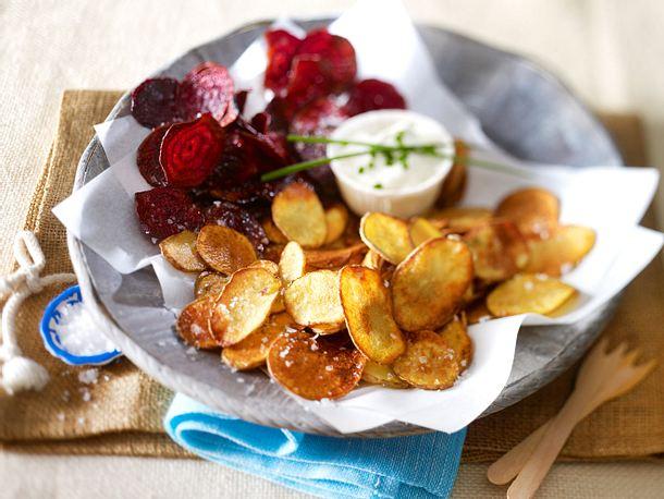 Selbstgemachte Kartoffel- und Rote-Bete-Chips Rezept