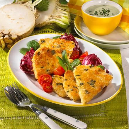 Sellerie-Ecken mit Kräuter-Dip Rezept