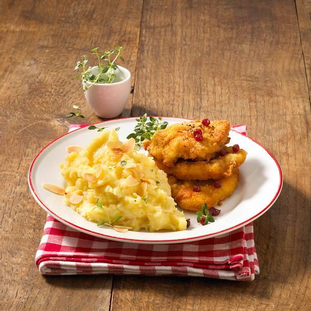 Sellerie-Kartoffelpüree zu panierten Schnitzeln Rezept