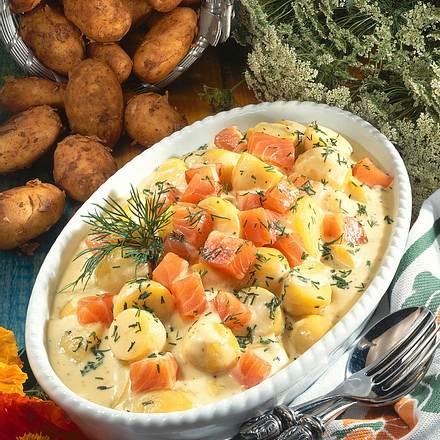 Senf-Béchamelkartoffeln mit Räucherlachs Rezept