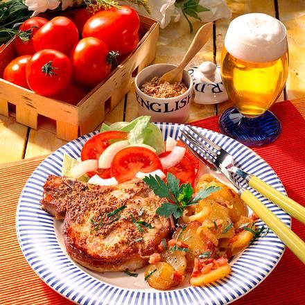 Senf-Koteletts mit Bratkartoffeln Rezept