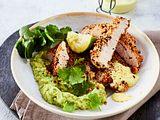 Sesam-Schnitzel mit Avocado-Mash Rezept