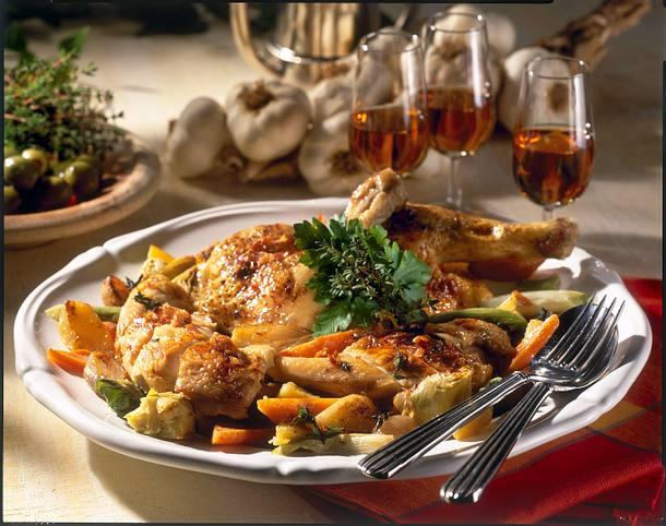 Sherry-Hähnchen mit geschmorten Gemüse Rezept