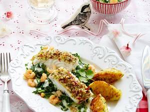 Skrei auf Rahmspinat zu Kartoffel-Kräuter-Nockerln Rezept