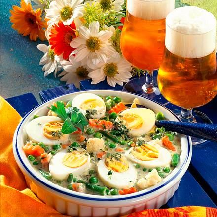 Sommergemüse mit Pesto-Soße und Eiern Rezept