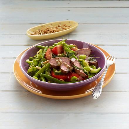 Sommerlicher Bohnen-Salat mit Lammfilets Rezept