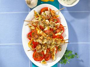 Souflaki mit Halloumi-Tomatensalat Rezept