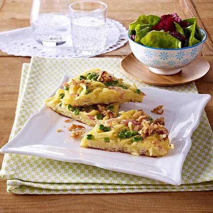 Spätzle-Omelett mit Erbsen und Schinken Rezept