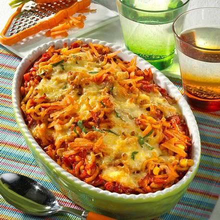Spaghetti-Auflauf mit Gemüse-Bolognese Rezept