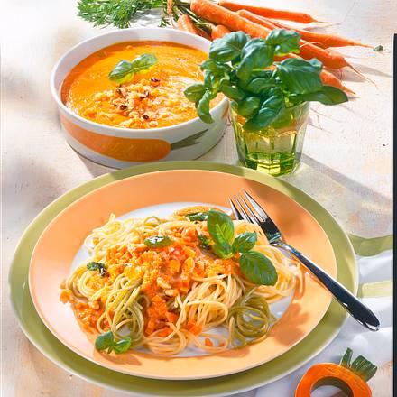 Spaghetti in Möhren-Basilikum-Soße Rezept