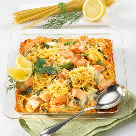 Spaghetti-Lachs-Gratin vom Blech Rezept