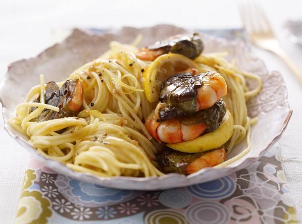 Spaghetti mit Bärlauchgarnelen Rezept