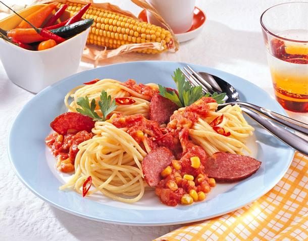 Spaghetti mit Barbecue-Soße Rezept