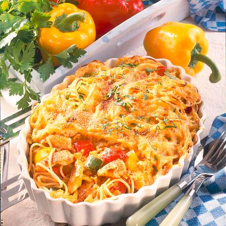 Spaghetti mit buntem Putenrahm Rezept