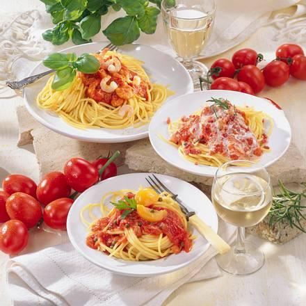 Spaghetti mit drei Tomatensoßen Rezept