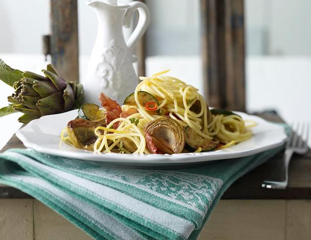 Spaghetti mit frischen Artischocken (mit selbst gemachtem Zitronenöl) Rezept