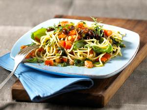 Spaghetti mit frischer Tomaten-Oliven-Soße Rezept