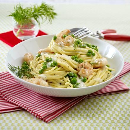 Spaghetti mit Garnelen und Erbsen Rezept