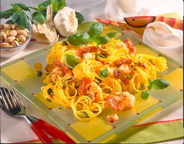 Spaghetti mit Garnelen und Pistazien-Chili-Butter Rezept