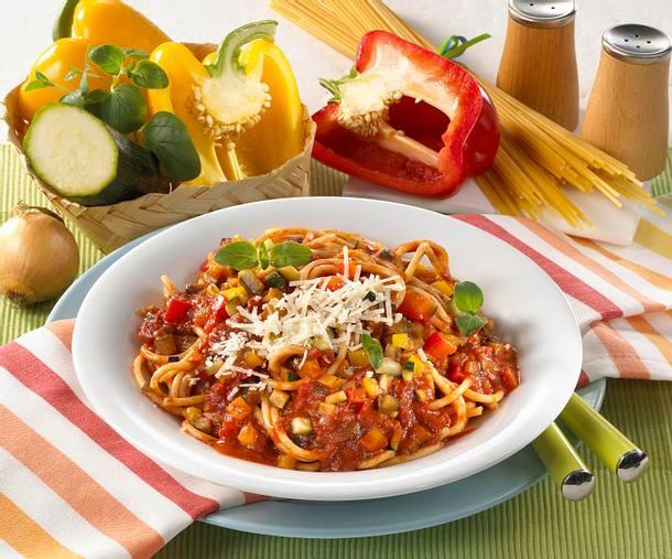 Spaghetti mit Gemüse-Tomatensoße Rezept