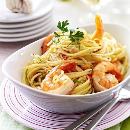 Spaghetti mit Knoblauchgarnelen Rezept
