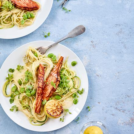 Spaghetti mit Lachsfilets Rezept