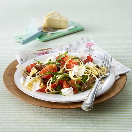 Spaghetti mit Majorantomaten und Rinderfilet Rezept
