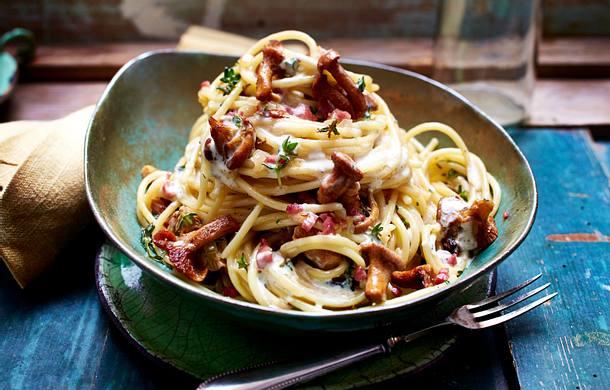 Spaghetti mit Pfifferlingen und Aioli-Sahnesoße